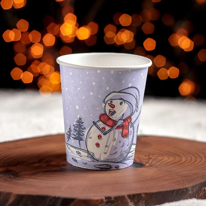 Стакан бумажный одноразовый Снеговик, 250 мл