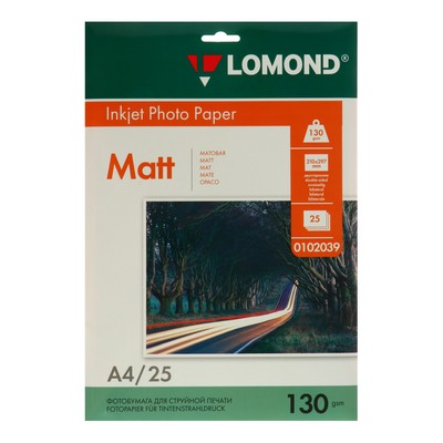 Фотобумага для струйной печати A4 LOMOND, 102039, 130 г/м², 25 листов, двусторонняя, матовая