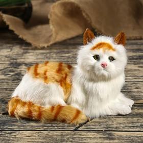 Пушистик искусственный мех 'Белый котик с рыжими полосками' 14х21х12 см Ош