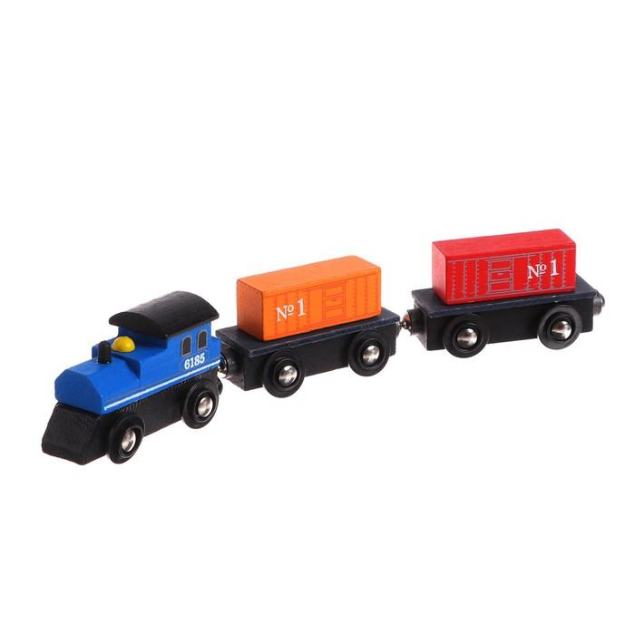 """Детская игрушка для ж/д """"Паровоз + 2 вагона"""" 2,5х8х19 см"""
