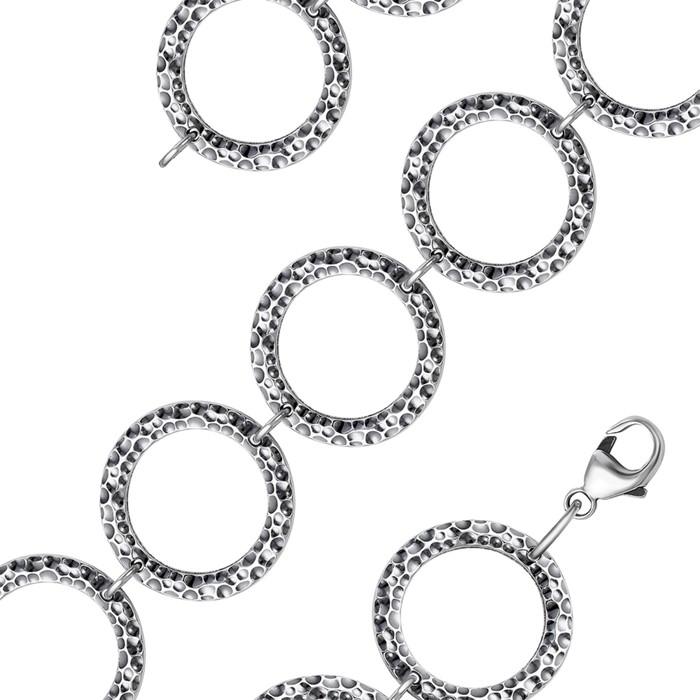 """Браслет """"Минимал"""" лава, круг, посеребрение с оксидированием, 18 размер"""