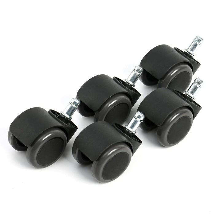 Комплект роликов для кресла,черные, прорезиненные, шток d-11 мм (5 штук)