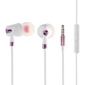 Наушники LuazON, вакуумные, микрофон, бело-розовые