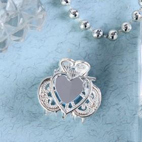 Краб для волос 'Тиера' 2 см,сердце, серебро Ош