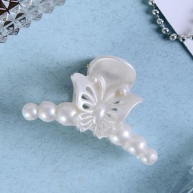 Краб для волос 'Белый туман' бабочка в бусинах 7 см Ош