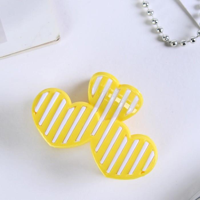 Краб для волос Полосатик сердца 7 см, микс