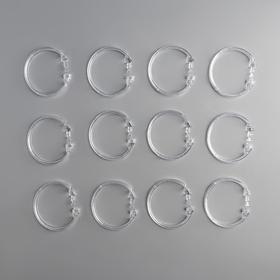 Набор крючков для штор, d=5,5 см, 12 шт, прозрачные Ош