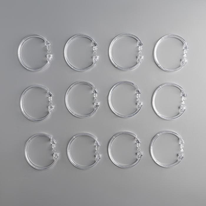 Набор крючков для штор, d5,5 см, 12 шт, прозрачные