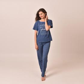 Комплект «Встреча» женский (футболка, брюки) цвет индиго, размер 44
