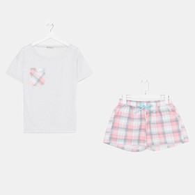 Комплект «Патио» женский (футболка, шорты) цвет серый/розовый, размер 42