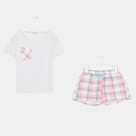 Комплект «Патио» женский (футболка, шорты) цвет серый/розовый, размер 48