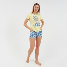 Комплект «Надежда» женский (футболка, шорты) цвет жёлтый/синий, размер 42
