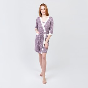 Костюм женский (халат, сорочка) «Нежность», цвет капучино, размер 44