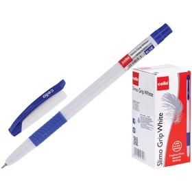 """Ручка шариковая Cello """"Slimo Grip white body """" 0,7 мм, грип, стержень синий"""