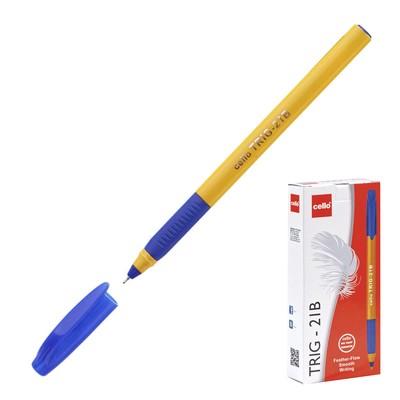 Ручка шариковая Cello Tri-Grip yellow barrel узел 0.7мм, чернила синие, грип 748 - Фото 1