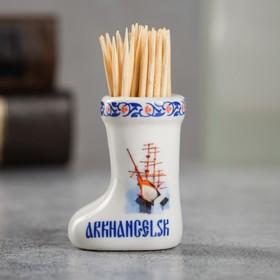 Сувенир для зубочисток керамика в форме валенка 'Архангельск' 3,5 х 4 см Ош