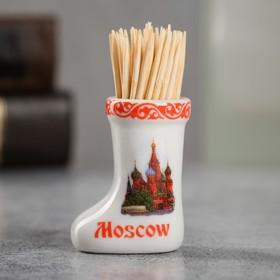 Сувенир для зубочисток керамика в форме валенка 'Москва' 3,5 х 4 см Ош