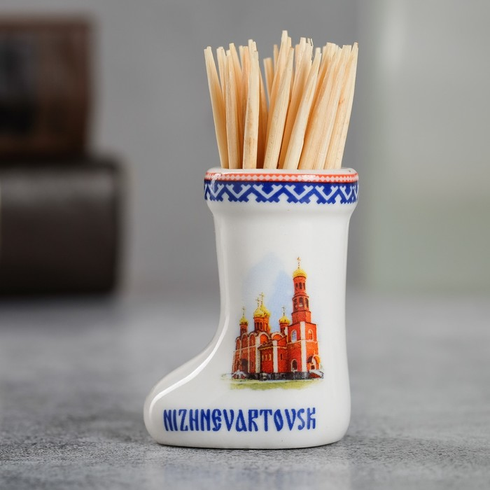 Сувенир для зубочисток керамика в форме валенка Нижневартовск