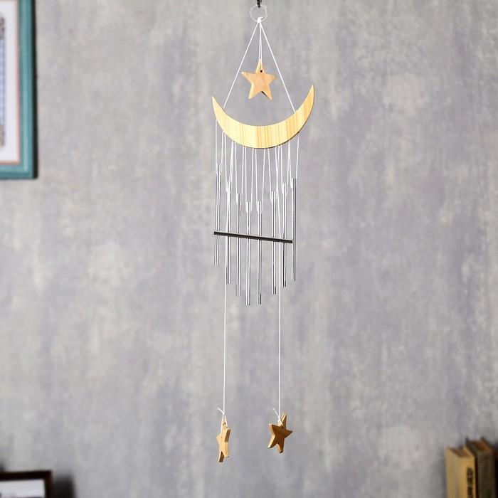 Музыка ветра дерево, металл Месяц со звездой 9 трубочек 58х13 см