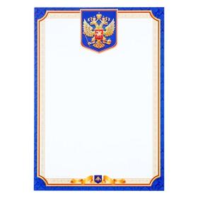 Грамота 'Герб РФ' синяя рамка Ош