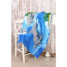 Полотенце вафельное «Игривые дельфины», размер 80х150 см