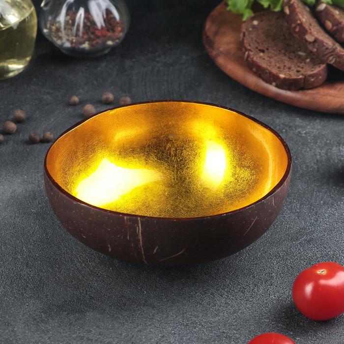 Чаша «Ханой», 13×6 см, из скорлупы кокосового ореха, цвет золотой