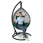Подвесное кресло Alicante черное + зеленая подушка