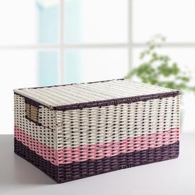 Корзина для хранения с крышкой и ручками 45×33×21 см «Гламур», цвет сиреневый
