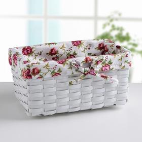 Корзинка плетёная 27×16×13 см «Розы», цвет белый
