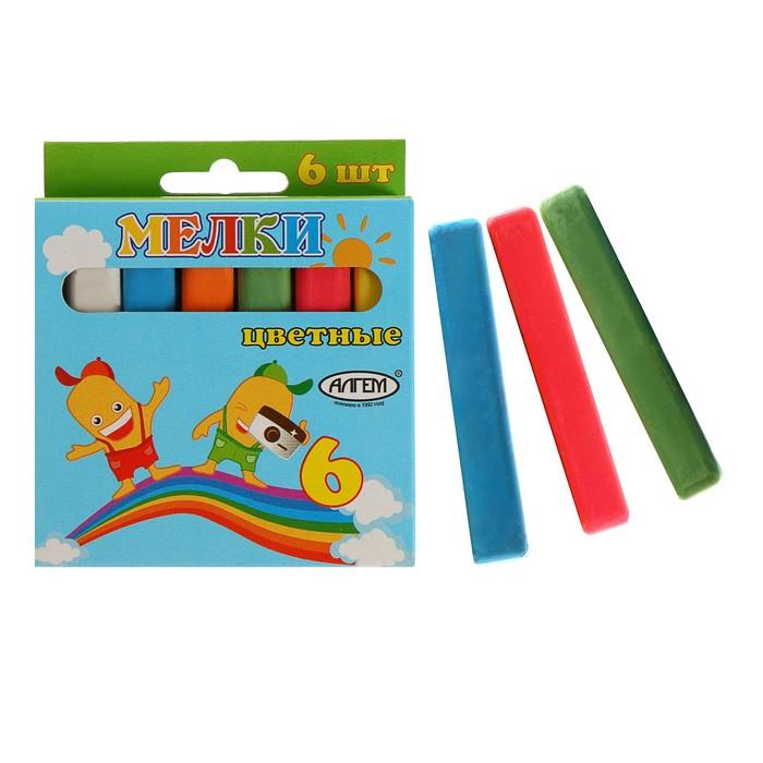 Мелки цветные АЛГЕМ, в наборе 6 штук, квадратные