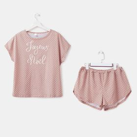 Пижама (футболка, шорты) женская, цвет бежевый МИКС/горох, размер 44
