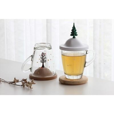 Чашка с крышкой Winter, 250 мл, белая с зелёным - Фото 1