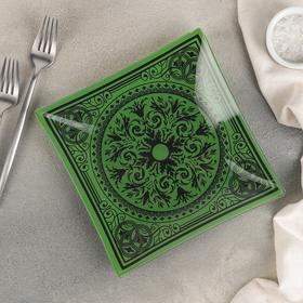 Тарелка десертная «Эльмира», 20 см, цвет зелёный