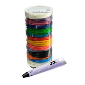 Комплект в тубусе 3Д ручка NIT-Pen2 фиолетовая + пластик ABS 15 цветов по 10 метров