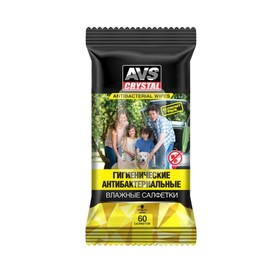 Влажные салфетки 'Антибактериальные' AVS AVK-208, 60 шт Ош