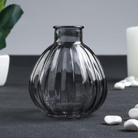 Бутылка для аромамасел/декора стекло 'Ребристая' серо-прозрачная 120 мл 8,5х6,5х6,5 см Ош