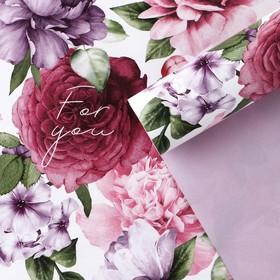 Бумага упаковочная глянцевая двухсторонняя «Цветочный сад», 70 × 100 см Ош