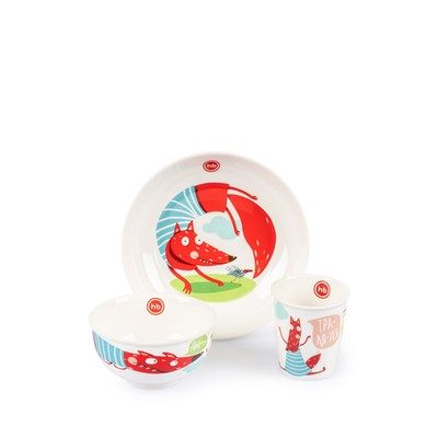 Набор детской посуды Happy Baby: тарелка, миска, стакан, от 12 месяцев - Фото 1