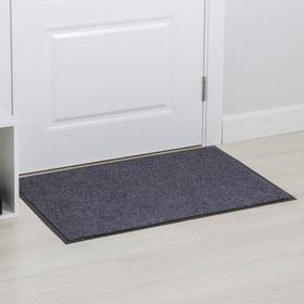 Коврик придверный влаговпитывающий, 2-х полосный иглопробивной, «Классик», 60×90 см, цвет серый