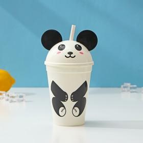 Стакан «Панда», 500 мл, с крышкой и трубочкой, цвет белый