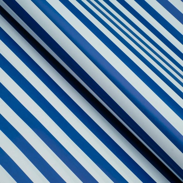 Бумага глянцевая, полоски, 49 х 70 см. Голубая
