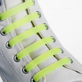 Набор шнурков для обуви, 6 шт, силиконовые, плоские, светящиеся в темноте, 13 мм, 9 см, цвет жёлтый