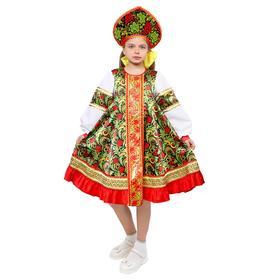 Русский народный костюм для девочки «Рябинка», платье, кокошник, р. 38, рост 146 см Ош