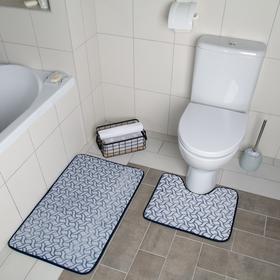 Набор ковриков для ванны и туалета Доляна «Винель», 2 шт: 40×50, 50×80 см, цвет синий