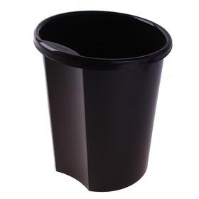 Корзина для бумаг 12 литров, цельная, чёрная, высота 310 мм Ош