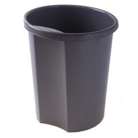 Корзина для бумаг 12 литров, цельная, серая, высота 310 мм