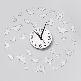 Часы-наклейка DIY 'Бабочки2' d=15 см, плавный ход, тип батарейки 1 АА (+механизм) Ош