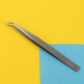 Пинцет для ресниц, загнутый, 12,5 см, цвет серебряный