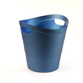 Корзина для бумаг пластик цельная 14л Uni '2002', синяя Ош