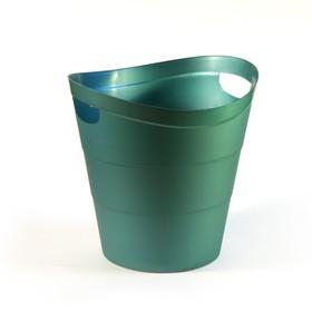 Корзина для бумаг пластик цельная 14л Uni '2002', зеленая Ош